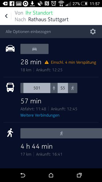 Here Maps Verkehrsmittel